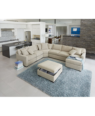 Radley Fabric Sectional Sofa Living Room Furniture
