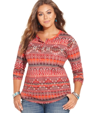 Lucky Brand Plus Size Long-Sleeve Printed Henley Top