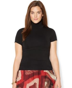 Lauren Ralph Lauren Plus Size Short-Sleeve Turtleneck Top