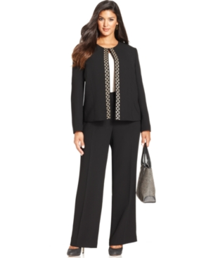 Tahari ASL Plus Size Gold-Tone Embroidered Pantsuit