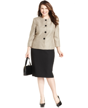 Evan Picone Plus Size Textured Tweed Skirt Suit
