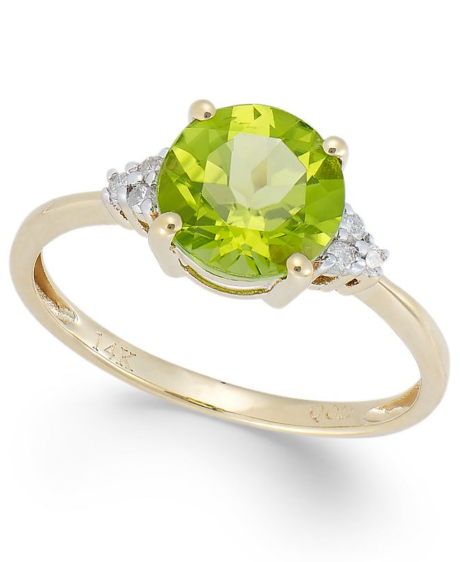 Macy's Peridot (2 ct. t.w.) and Diamond Accent Ring in 14k Gold