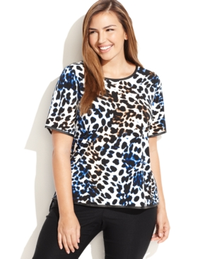 Calvin Klein Plus Size Faux-Leather-Trim Animal-Print Top