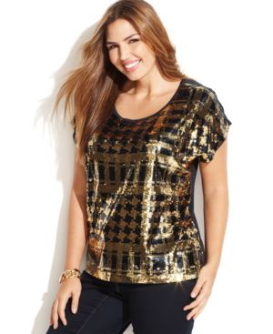 Michael Michael Kors Plus Size Printed Sequined Top