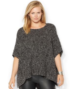 Lauren Ralph Lauren Plus Size Marled Poncho Sweater