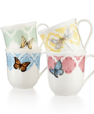 Lenox Butterfly Meadow Trellis Set of 4 Dessert Mugs