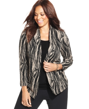 Jm Collection Plus Size Printed Layered Top