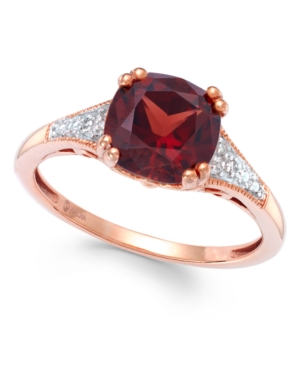 Garnet (2-1/5 ct. t.w.) and Diamond Accent Ring in 14k Rose Gold