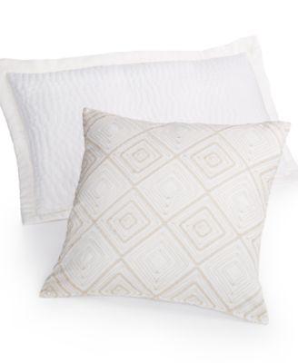 "Hotel Collection Linen White 18"" Square Decorative Pillow"