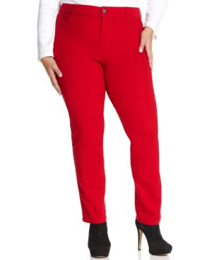 Style & Co. Plus Size Tummy-Control Slim-Leg Jeans, Red Amore Wash