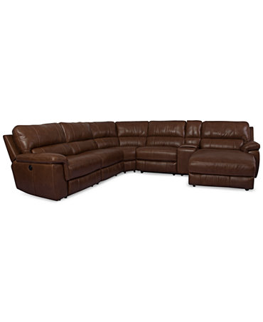 Brandie Leather 6 Piece Chaise Sectional Sofa With 2 Power