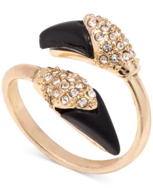 Rachel Rachel Roy Gold-Tone Onyx Crystal Wrap Ring