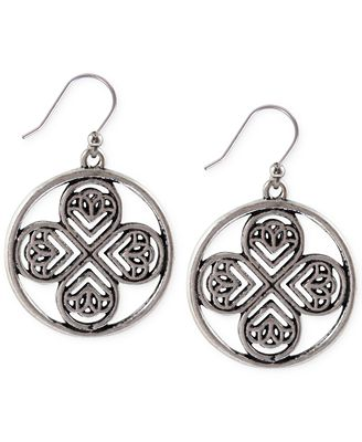 Lucky brand silver tone clover drop earrings jewelry for Macy s lucky brand jewelry