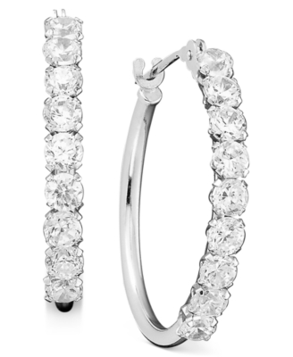 14k White Gold Cubic Zirconia Hoop Earrings