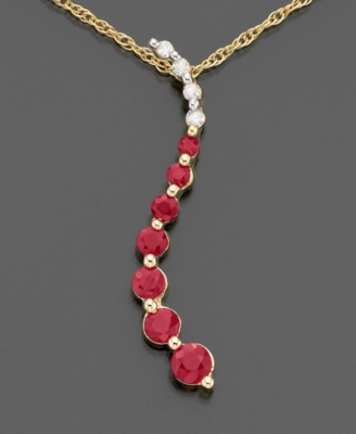 14k Gold Ruby (5/8 ct. t.w.) & Diamond Accent Journey Pendant