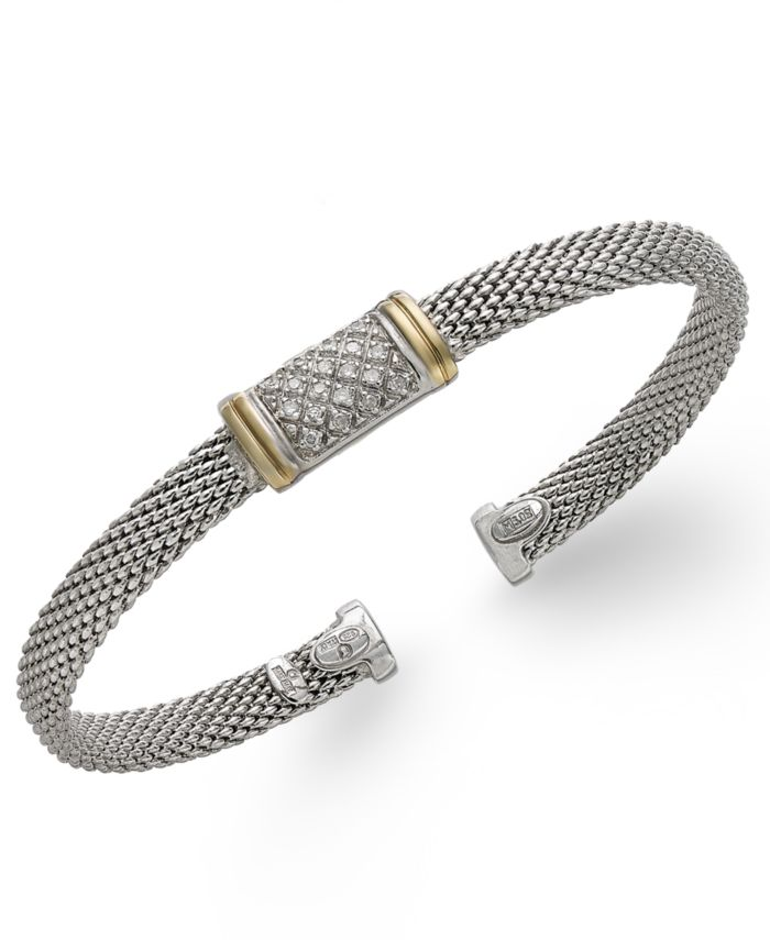 Macy's Diamond Mesh Bangle Bracelet in 14k Gold and Sterling Silver (1/8 ct. t.w.) & Reviews - Bracelets - Jewelry & Watches - Macy's