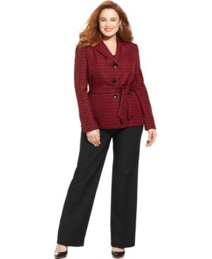 Le Suit Plus Size Jacquard-Blazer Belted Pantsuit
