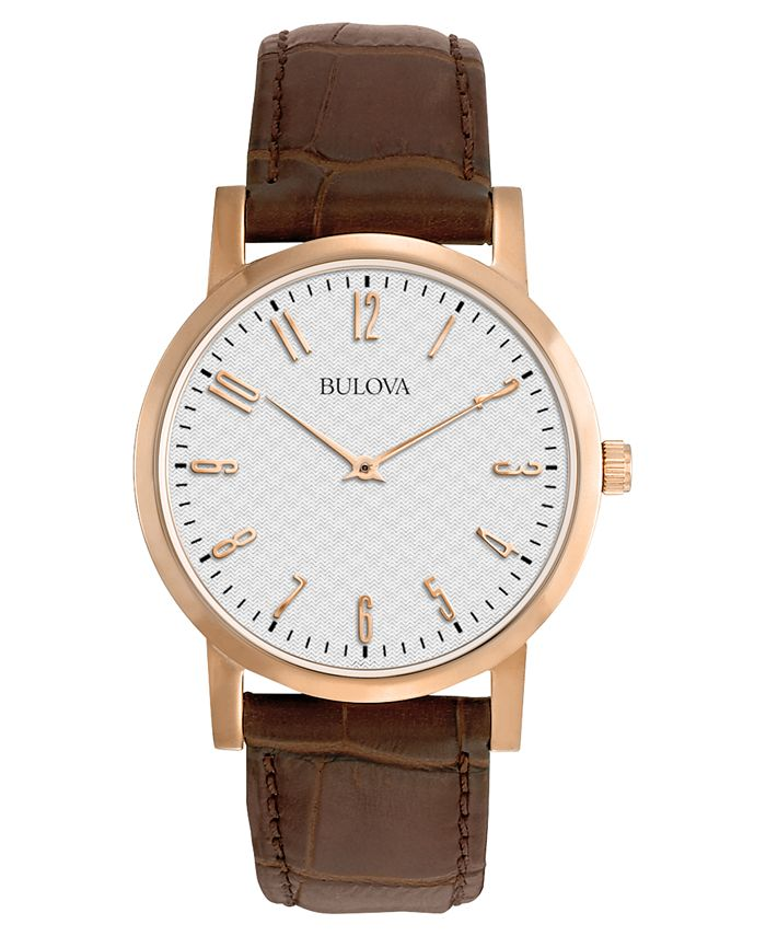 Bulova - Men's Brown Leather Strap Watch 38mm 97A106