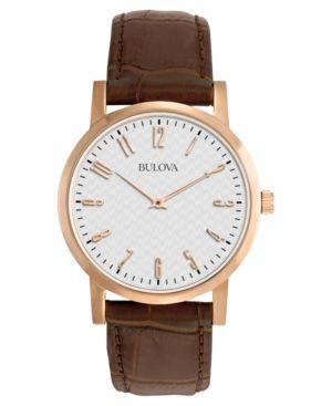 Bulova Men's Brown Leather Strap Watch 38mm 97A106