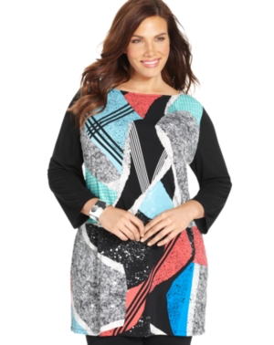 Style & co. Plus Size Abstract-Print Tunic Top