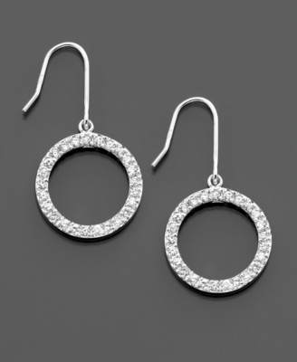 Sterling Silver & Cubic Zirconia Circle Earrings