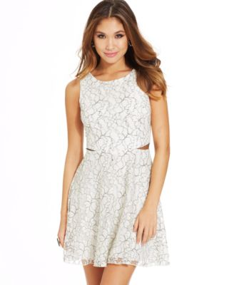 Speechless Juniors' Lace MeshPanel Dress