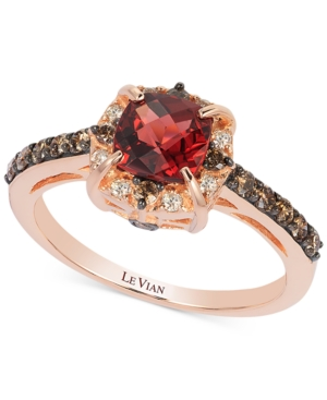 Le Vian Petite Collection Garnet (1-1/6 ct. t.w.) and Chocolate Diamond (3/8 ct. t.w.) Ring in 14k Rose Gold