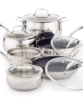 Belgique Stainless Steel 11-Pc. Cookware Set with Nonstick Saut® Pan & Fry Pan, Only at Macy's