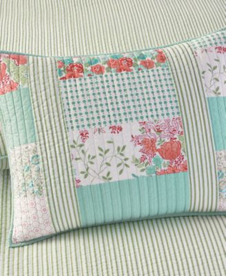 Martha Stewart Collection Aqua & Coral Patchwork Posey Standard Sham
