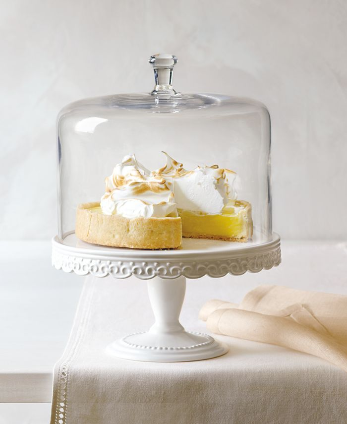 Martha Stewart Collection - Embossed Cake Stand with Dome