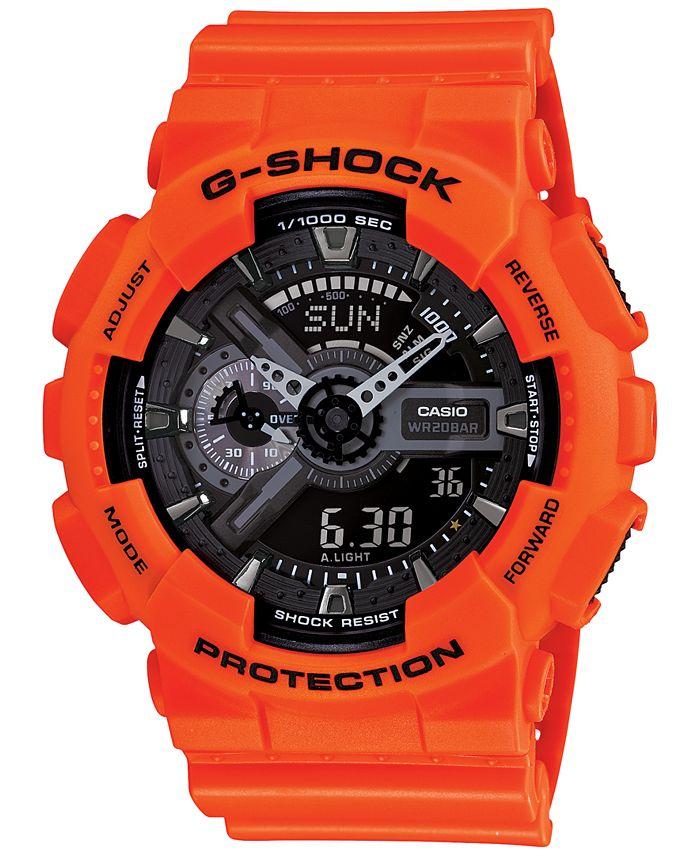 G-Shock - Men's Analog-Digital Orange Resin Strap Watch 55x51mm GA110MR-4A