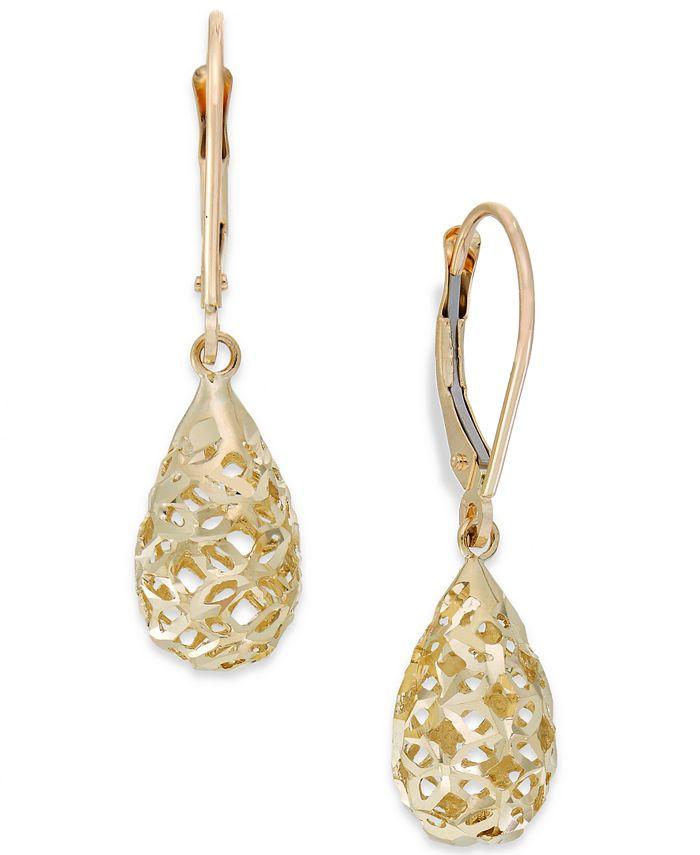 Macy's - Filigree Leverback Drop Earrings in 10k Gold