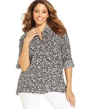 Jones New York Signature Plus Size Leopard-Print Shirt