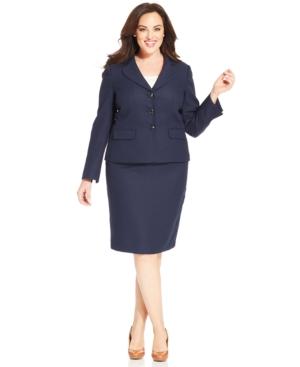 Le Suit Plus Size Textured Notch-Collar Skirt Suit