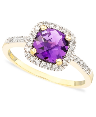 14k Gold Cushion-Cut Amethyst (1 ct. t.w.) & Diamond Ring (1/10 ct. t.w.)
