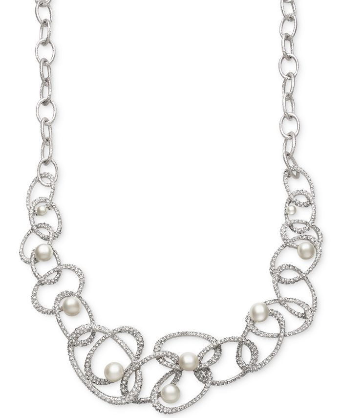Belle de Mer - Cultured Freshwater Pearl (10mm) and Crystal Linked Frontal Necklace in Sterling Silver