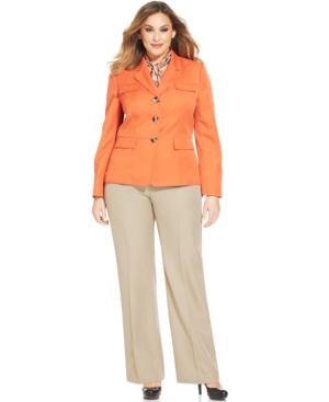 Le Suit Plus Size Twill-Jacket & Scarf Pantsuit