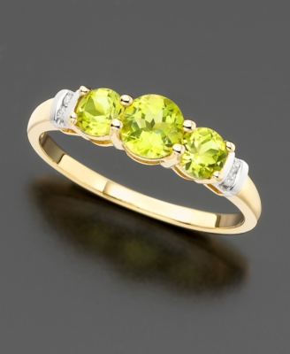 14k Gold Three-Stone Peridot (7/8 ct. tw.) & Diamond Accent Ring