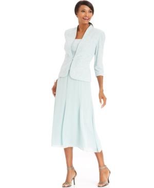 Alex Evenings Petite Jacquard Sparkle Dress and Jacket $169.00 AT vintagedancer.com