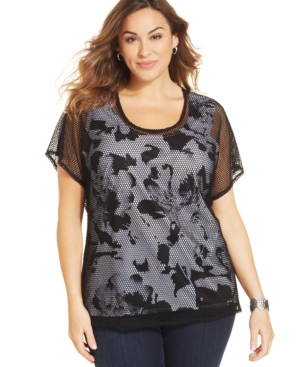 Style & co. Plus Size Printed Mesh-Overlay Top