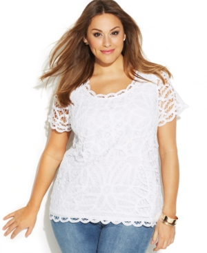 INC International Concepts Plus Size Short-Sleeve Lace Top