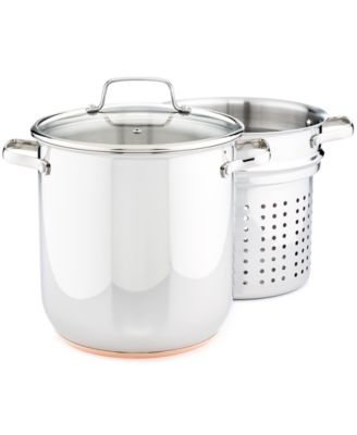 CLOSEOUT! Martha Stewart Collection Copper Accent Stainless Steel 12-Qt. Covered Stockpot with Pasta Insert
