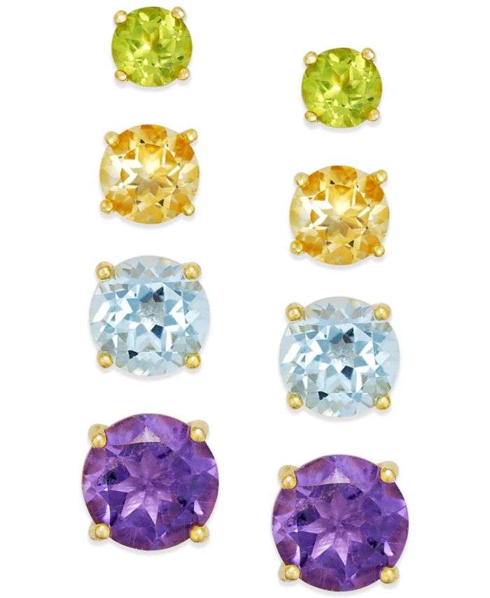 Macy's Multi-Stone Stud Earring Set in 18k Gold over Sterling Silver (5-9/10 ct. t.w.) & Reviews - Earrings - Jewelry & Watches - Macy's