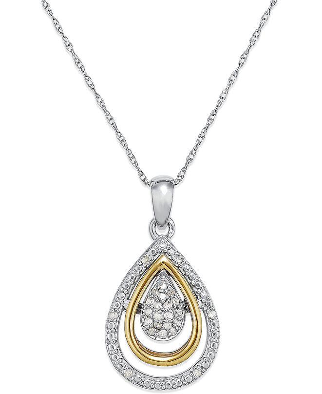 Macy's Diamond Teardrop Pendant in 14k Gold and Sterling Silver (1/10 ct. t.w.)
