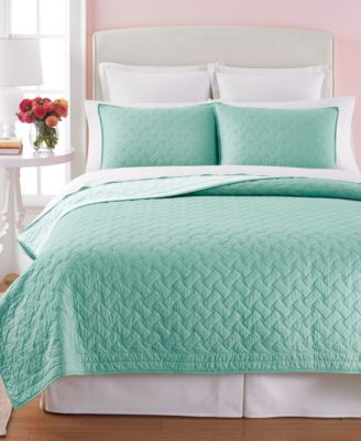 Martha Stewart Collection Basket Stitch King Quilt (Aqua)