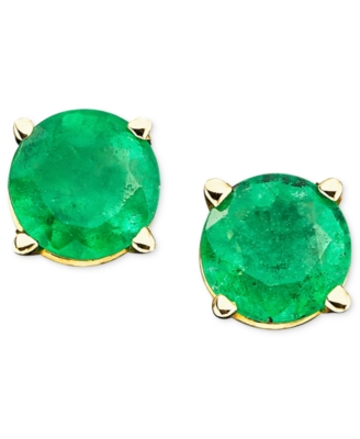 14k Gold Emerald Earrings (1/8 ct. t.w.)