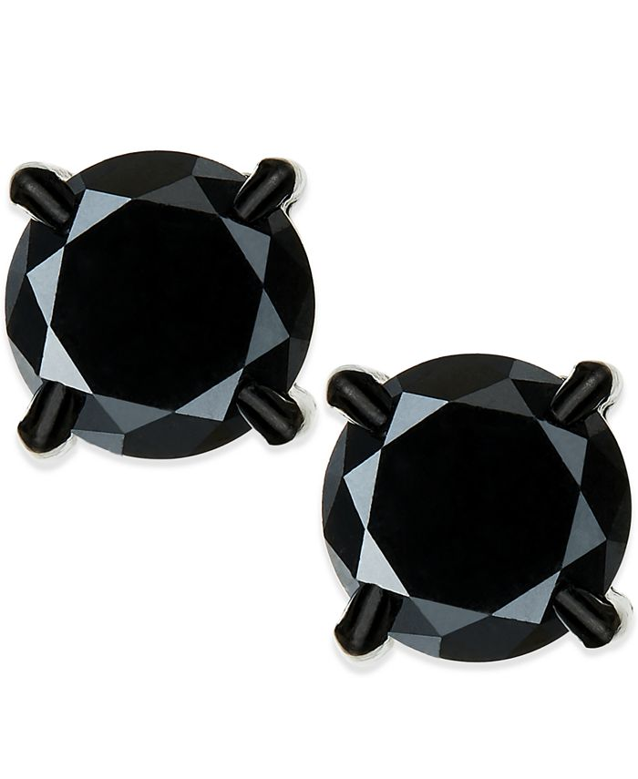Macy's - Men's Black Diamond Stud Earrings in Stainless Steel (2 ct. t.w.)