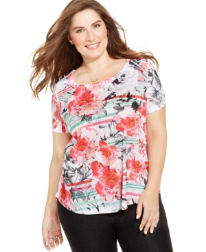 Style & co. Plus Size Embellished Mixed-Print Tee