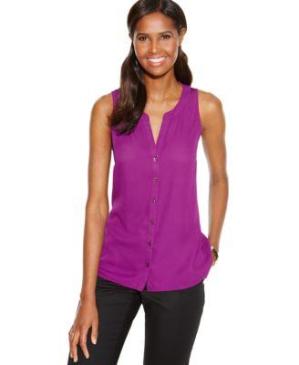 INC International Concepts Sleeveless Knit-Back Top