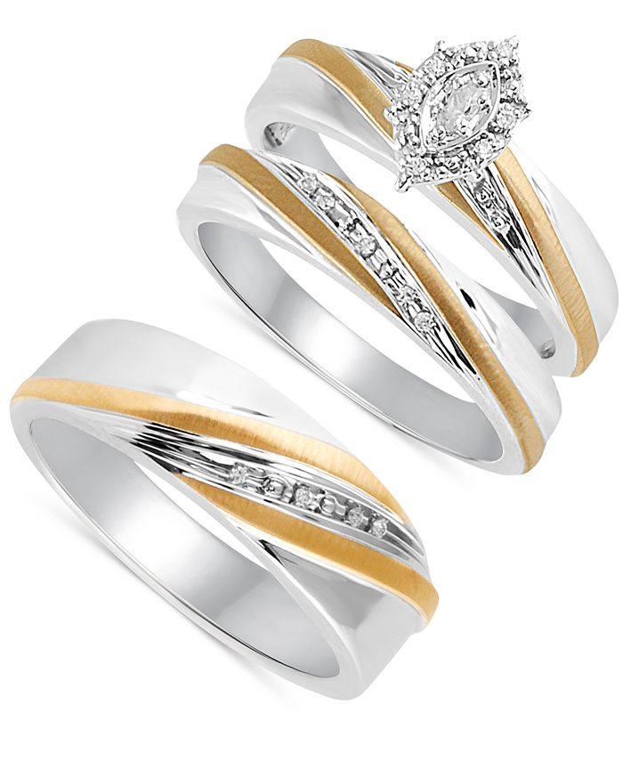 Macy's - Beautiful Beginnings Diamond Accent Ring Set for Her and Band for Him in Sterling Silver and 14k Gold
